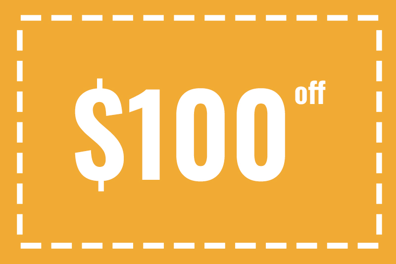 Coupon for $100 off standard installation services.